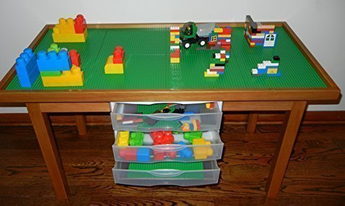 Ping For Lego Play Table With 3 Storage Drawers Solid Poplar Wood Legs Frame