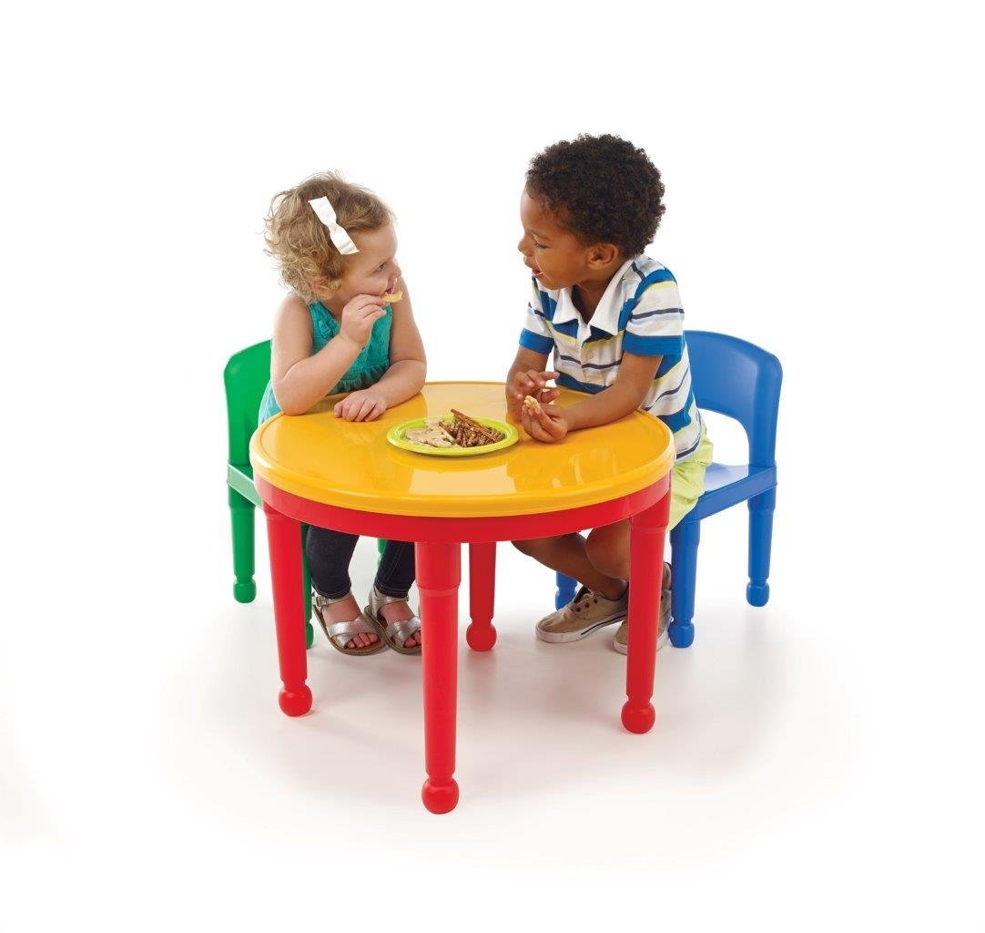 Tot Tutors CT599 2-in-1 Round Plastic Construction Table and 2 Chairs