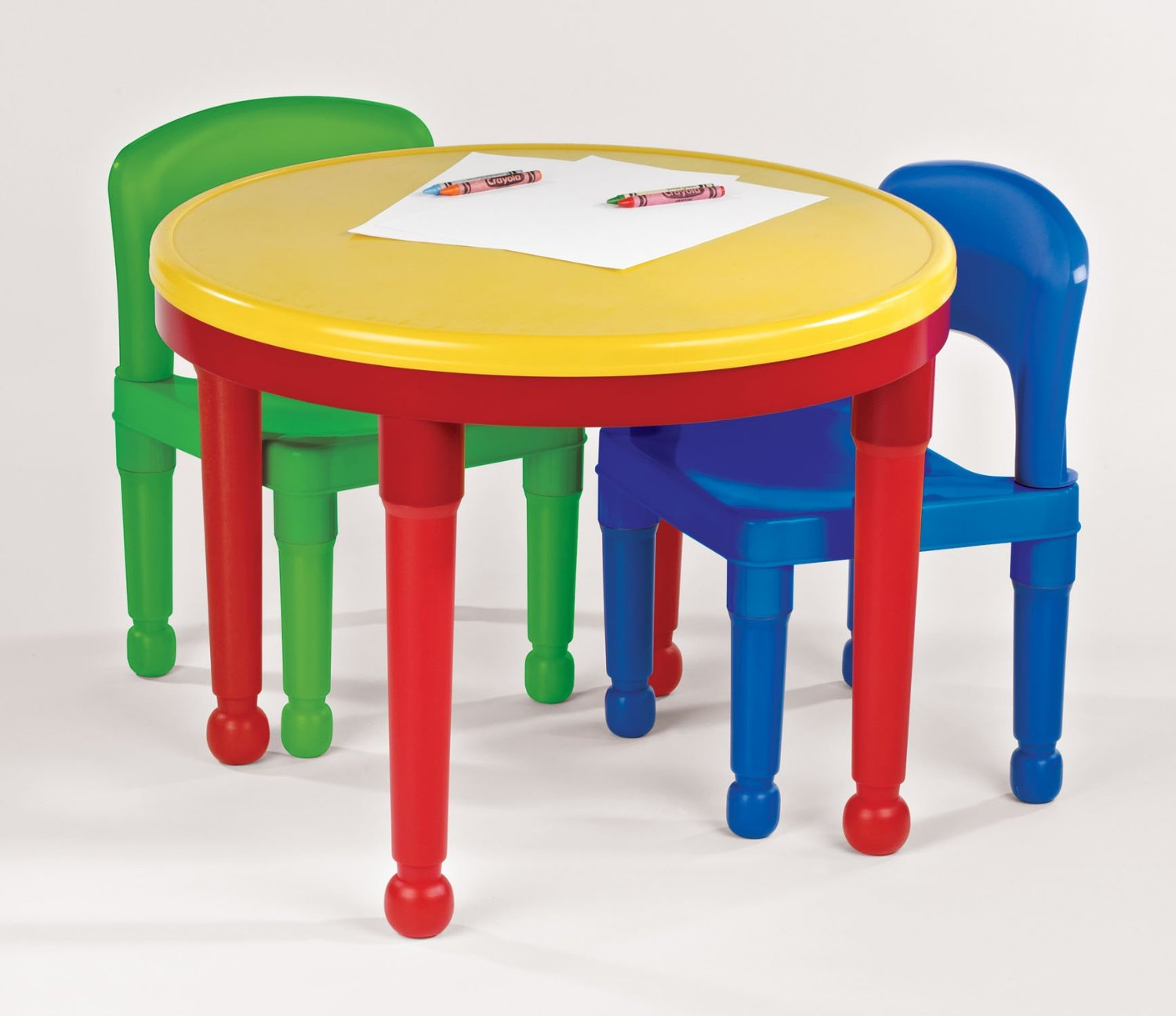 71aLC8oghOL._SL1500_ & Tot Tutors CT599 2-in-1 Round Plastic Construction Table and 2 Chairs