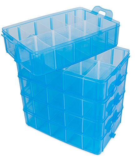 Lifesmart Usa Stackable Storage Container Blue 50 Adjustable Compart